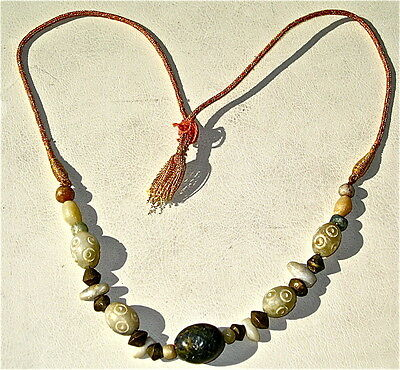 Vintage African Necklace With Fulani Brass Bicones, Eye Beads, Carved Stones