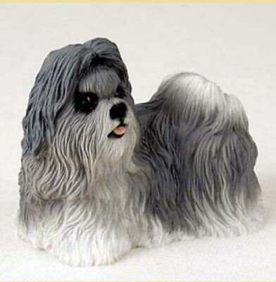 SHIH TZU (Gray) DOG Figurine Statue Painted Resin Figure