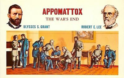 Patriotic~Historic Scene Of Civil War~Appomattox~US Grant~RE Lee~Sign War's End