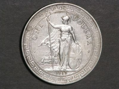 GREAT BRITAIN 1912B Trade Dollar Silver XF