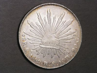 MEXICO 1892GoRS 8 Reales Silver Crown XF-AU