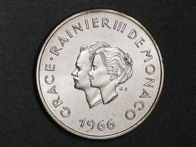 MONACO 1966 10 Francs Wedding Anniv. Silver Choice BU