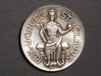 NORWAY Medal 1930 King Olav 28mm Silver UNC