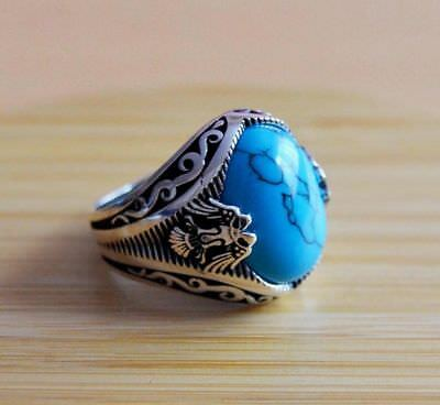 Turquoise Gemstone Solid 925 Silver Designer Mens Antique Big Ring Size 6 To 14