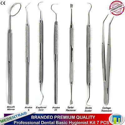 Dental Tooth Scraper Tartar Calculus Plaque Remover Scalers Explorers Set 7PCS