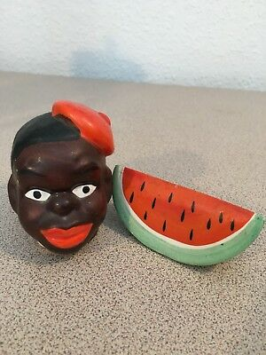 Vintage Salt & Pepper Shakers: Black Americana Head and Watermelon Go With Japan