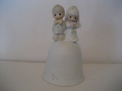 Precious Moments-The Lord Bless You and Keep You-Porcelain Bisque Bell-1981-IOB