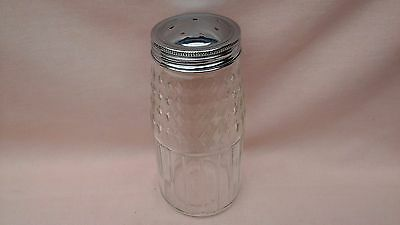 Collectable Vintage Cut Glass And Chrome Lid Sugar Shaker In Good Vintage Cond.