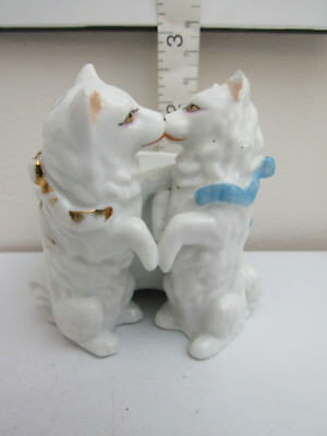 Vintage Two Playing Dogs Figurine Trinket Dish Planter White