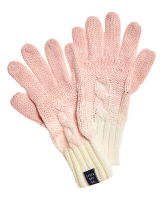 New Womens Superdry Ombre Clarrie Gloves Pink