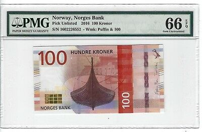 P-UNLISTED 2016 100 Kroner, Norway, Norges Bank,  PMG 66EPQ