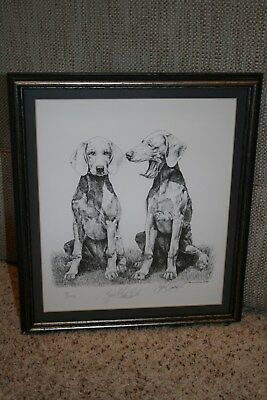 Weimaraner puppies framed signed and numbered print by Lyn St. Clair Stubbs 1986