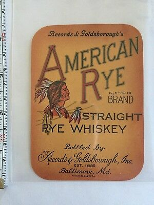 Antique Pre Prohibition American Rye  Whiskey Label  Baltimore MD