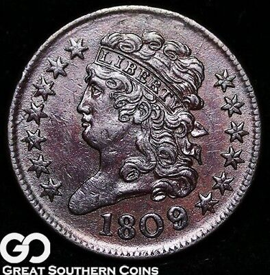 1809/6 Half Cent, Classic Head, Scarce This Nice, Choice Uncirculated+ Key Date!