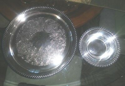 """Vintage Wm Rogers 12 1/5"""" Round Serving Tray & 6 1/2 bowl.  Lovely!"""