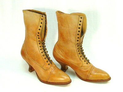 Oak Tree Farms Mary Old West Granny Vintage Style rustic tan Boot Leather