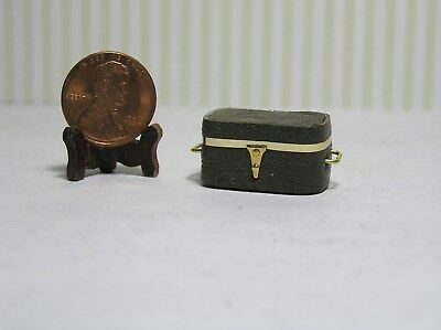 "Miniature Dollhouse 1/4"" Scale Trunk Brown w/ Gold Trim and Handles"