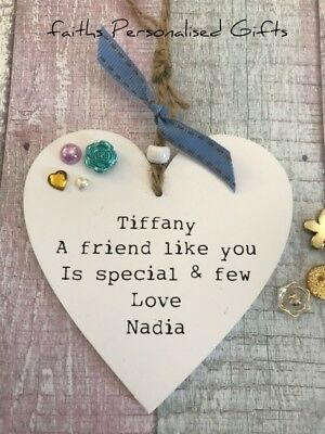 Personalised Pretty Friend Colleague Heart Plaqueany Occasionkeepsake Gift