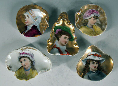 5~Antique Mixed Lot German Hand Painted Miniature Portrait Gilt Nut Dishes yqz