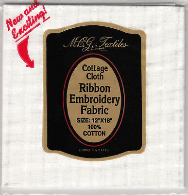 Cottage Cloth, Ribbon Embroidery Fabric, 30 count WHITE, 100% Cotton Made in USA