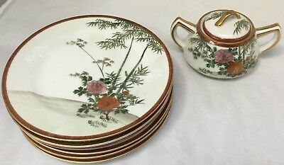 Vintage Handpainted Japanese Sugar Bowl And Six Bread Plate Set