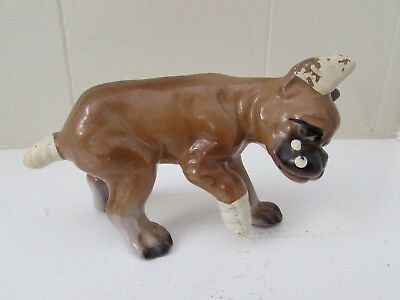 Bone China Boxer Dog Figurine Japan Injured Limping Bandages Crying Vintage