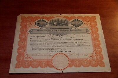 Great Southern Oil & Refining Association Dallas TX STOCK CERTIFICATE Rare 1919