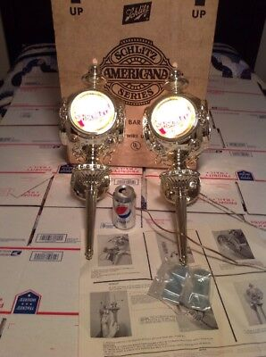 1970's SCHLITZ BEER NOS LAMP LIGHT SIGN BAR CAVE Sconces Vintage Box New Old