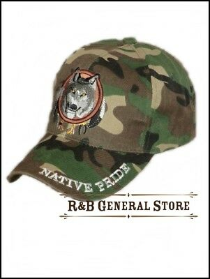 Baseball Cap WOLF Camouflage  Western Country Cowboy  Biker Caps