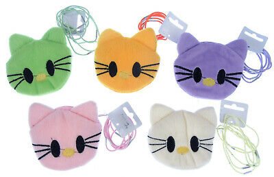 pussy cat face purse with 6 hair elastics, lilac, yellow,green