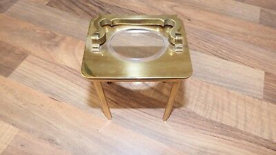 Part Carriage Clock Brass Case only. Four Supports, top with glass and handle