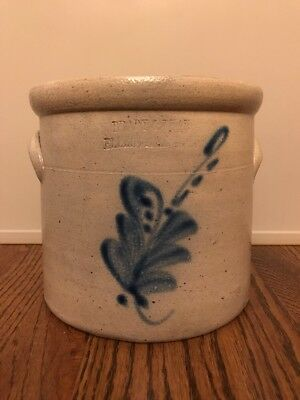 Brady & Ryan Ellenville NY Crock Stoneware Antique Cobalt Flower Design S