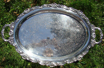 Vintage Shells & Flowers Oval Silverplate Footed 2 Handle Serving Tray Gorgeous!