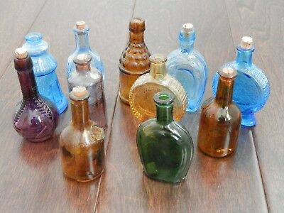 Lot of 11 Vintage Miniature Colored Glass Bitters Whiskey Bottles