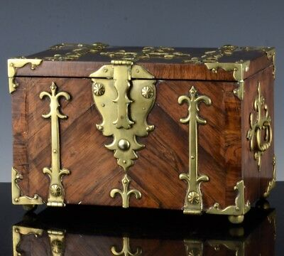 FINE c1690 WILLIAM & MARY ENGLISH BRASS ROSEWOOD INLAID COFFER FORT GOLD CHEST