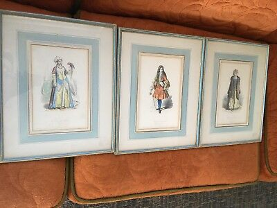 Lot Of Three Antique Pauqet Prints In Matching Frames