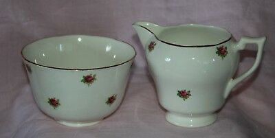 vintage LONGTON pink rose milk jug sugar bowl fruit bone china England