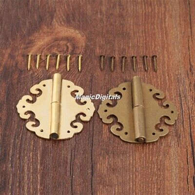 A Pair Brass Hardware Bronze Color Hinge Decorative Wooden Jewelry Box 40*40mm