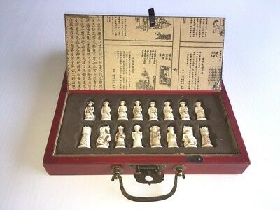 Ancient Chinese Warier Chess set, 32 Pce, Wood/Leather, Collectable