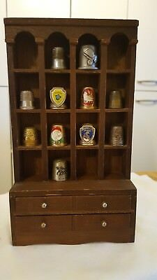 Thimble collection with wood display. 11, thimbles. Pewter, souvenir, brass!