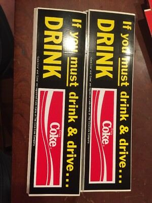 Vintage Lot Of 7 Coca Cola If You Must Drink & Drive Drink Coke Stickers Rare