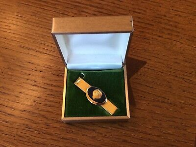 Vtg Shell Oil Tie Clip Bar 10 Years Of Service Rare Enamel Gold Filled SHELL Gas