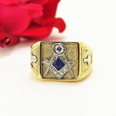 b9a5f630f341f VINTAGE 0.25 CTW Men's 14 K Yellow Gold 3 Degree Blue Lodge Masonic Ring  Size 12