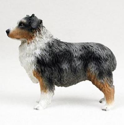 AUSTRALIAN SHEPHERD AUSSIE (blue) DOG Figurine Statue Hand Painted Resin docked