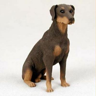DOBERMAN PINSCHER (RED) DOG Figurine Statue Hand Painted Resin Gift Uncropped