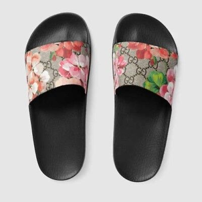 Brand Gucci Blooms slide sandal Women's GG Supreme Canvas US Size 7