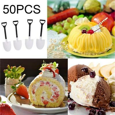 50pcs Plastic Disposable Baby Kids Mini Shovel Spoon Potted Ice Cream Cake Spoon