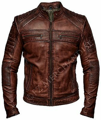Mens Biker Vintage Motorcycle Distressed Brown Cafe Racer Leather Jacket