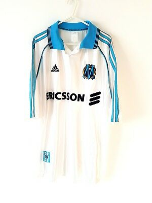 Marseille Home Shirt 1998. Large. Adidas. White Adults Olympique de Football Top