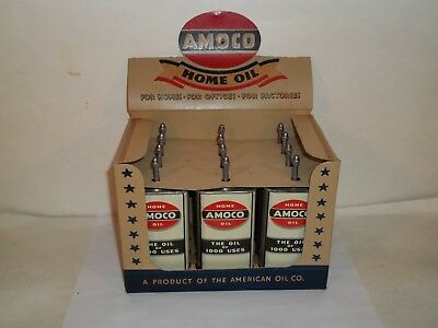 12 Vintage Rare AMOCO Home Oilers Lead Top New Old Stock In Display